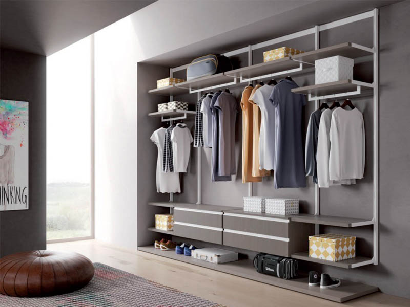 Easy. Aluminium profiles to realize walk-in wardrobes and living solution